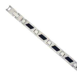 Bracelet acier or, câble noir, homme