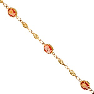 Bracelet or camée rose