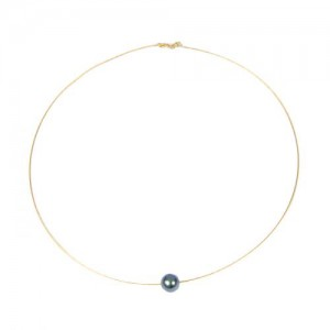 Collier or et perle noire Tahiti