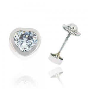 Boucle d'oreille or blanc 375/1000 - 9 carats - Coeur