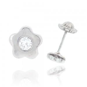 Boucle d'oreille or blanc 375/1000 - 9 carats - Fleur