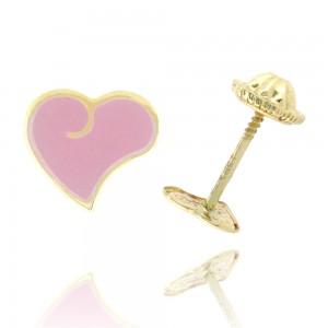 Boucle d'oreille or jaune 375/1000 - 9 carats - Cœur laque rose