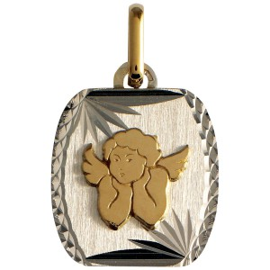 Médaille or, Ange, ciselée, 2 ors