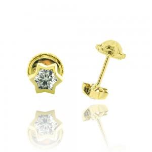 Boucle d'oreille or jaune 750/1000 - 18 carats - Etoile