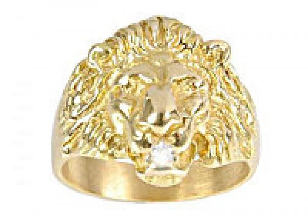 Bague or et diamant, Chevalière lion pour homme