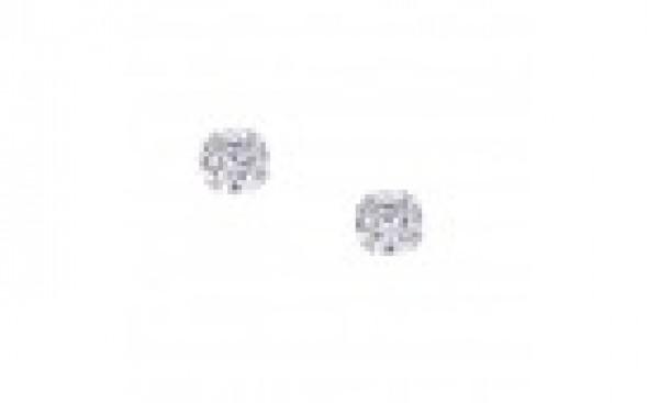 Boucle d'oreille or blanc, clou et oxyde de zirconium
