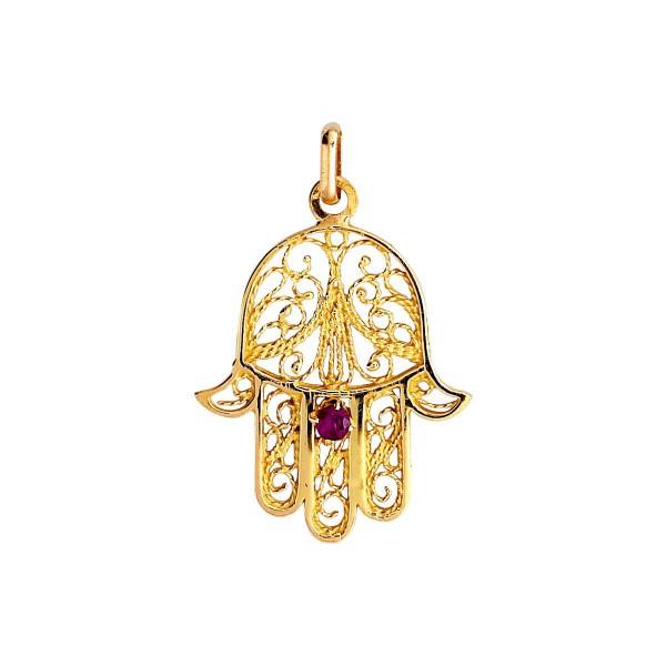 Pendentif or 375 1000 pendentif main de fatma rubis bijouterie briant - Bougie main de fatma ...